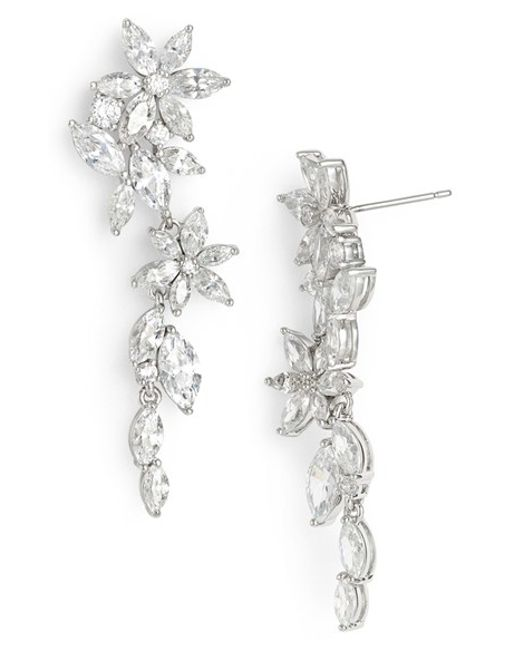 Nadri | Metallic Floral Crystal Linear Drop Earrings | Lyst
