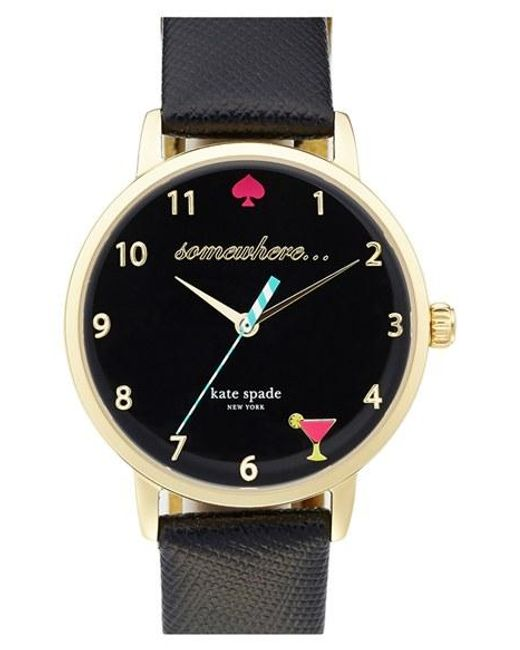 Kate Spade | Black 'metro - Somewhere' Leather Strap Watch | Lyst