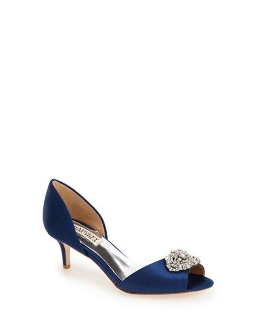 Badgley Mischka | Blue 'Petrina' Peep Toe D'Orsay Pump | Lyst