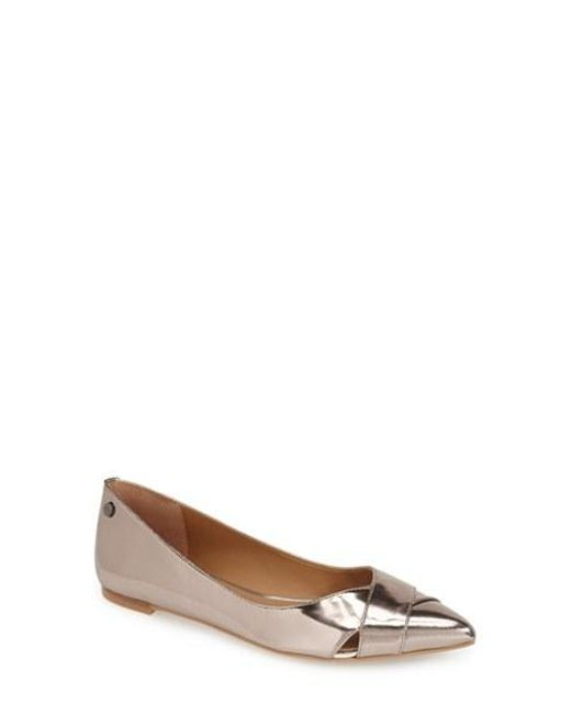 Calvin Klein | Metallic 'gailia' Leather Pointy Toe Flat | Lyst