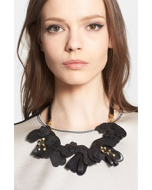 Marni | Black Saffiano Leather Necklace | Lyst