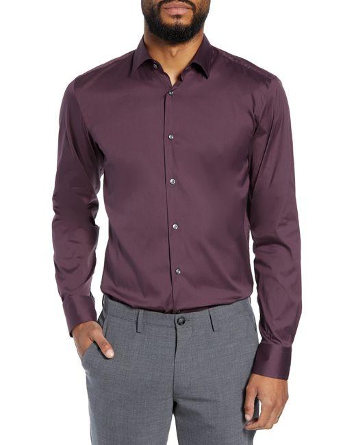 BOSS - Purple Jenno Slim Fit Stretch Solid Dress Shirt for Men - Lyst