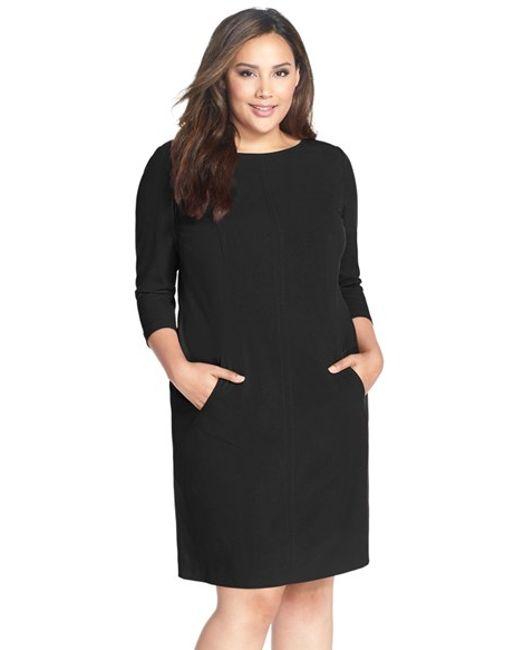 Tahari | Black Seamed A-line Dress | Lyst