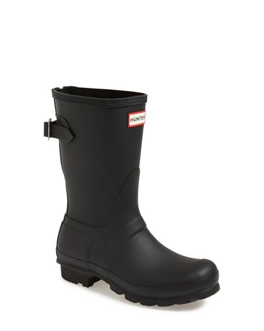 Hunter | Black Original Short Back Adjustable Rain Boot | Lyst