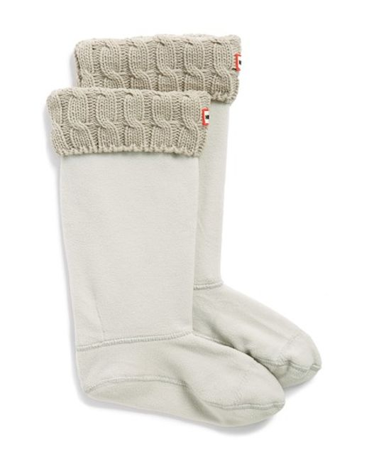 HUNTER | Natural Original Tall Cable Knit Cuff Welly Boot Socks | Lyst