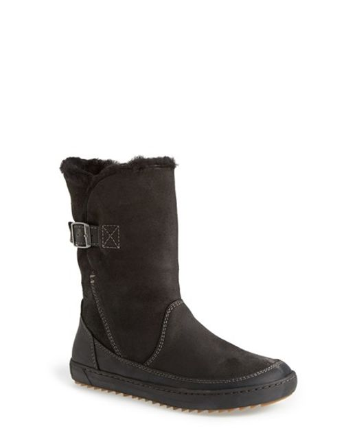 Birkenstock | Black 'woodbury' Genuine Shearling Lined Boot | Lyst