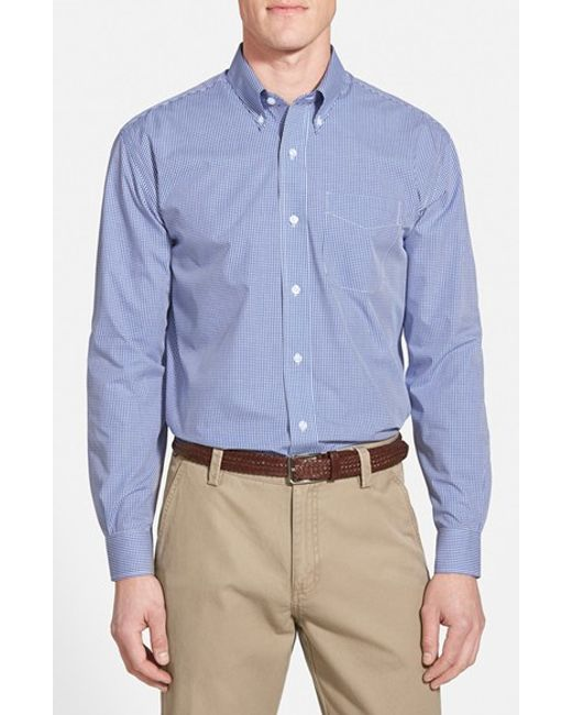 Cutter & Buck | Blue 'epic Easy Care' Classic Fit Wrinkle Free Gingham Sport Shirt for Men | Lyst
