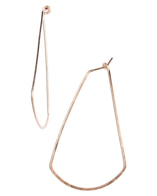 Nashelle | Pink Ija Triangle Hoop Earrings | Lyst