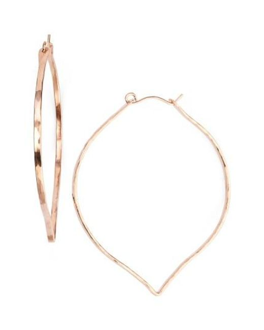 Nashelle | Pink Ija 'large' 14k-rose Gold Fill Lotus Hoop Earrings | Lyst