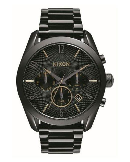 Nixon | Black 'bullet' Guilloche Chronograph Bracelet Watch | Lyst