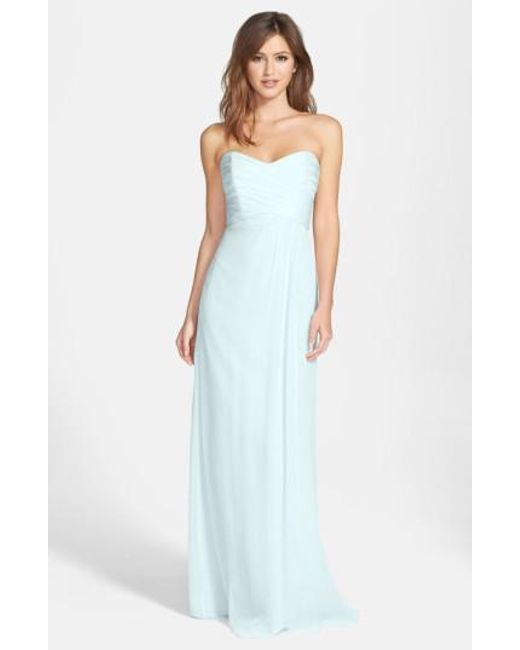 Amsale - Blue Strapless Crinkle Chiffon Gown - Lyst