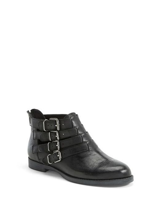 Bella Vita | Black 'Ronan' Buckle Leather Bootie | Lyst
