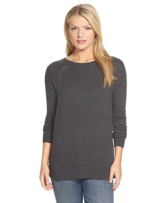 Caslon | Gray Caslon Button Back Tunic Sweater | Lyst