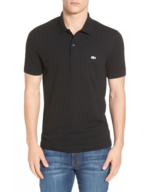 Lacoste | Black 'white Croc' Regular Fit Pique Polo for Men | Lyst