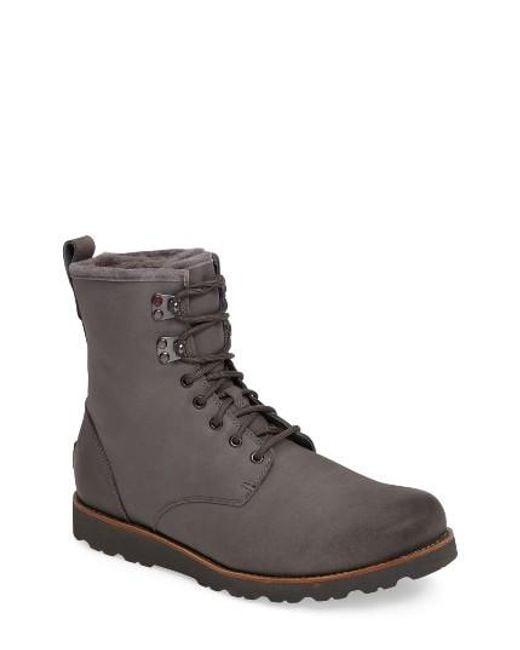 Ugg   Black Ugg Hannen Plain Toe Waterproof Boot With Genuine Shearling for Men   Lyst