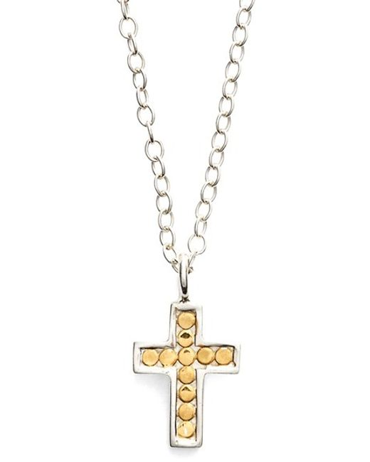 Anna Beck | Metallic 'gili' Reversible Mini Cross Necklace | Lyst