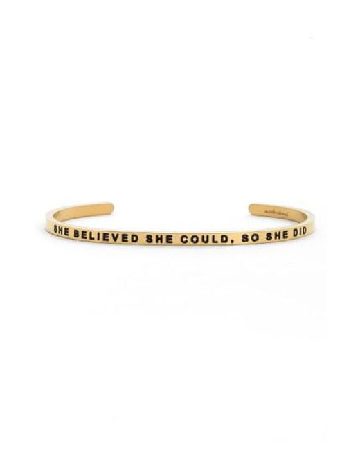 Mantraband | Metallic 'she Believed She Could' Cuff | Lyst