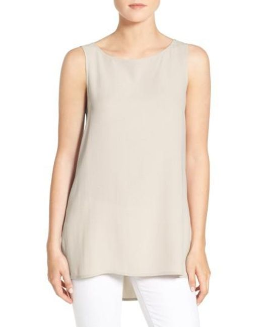 Eileen Fisher | White Long Bateau Neck Silk Shell | Lyst