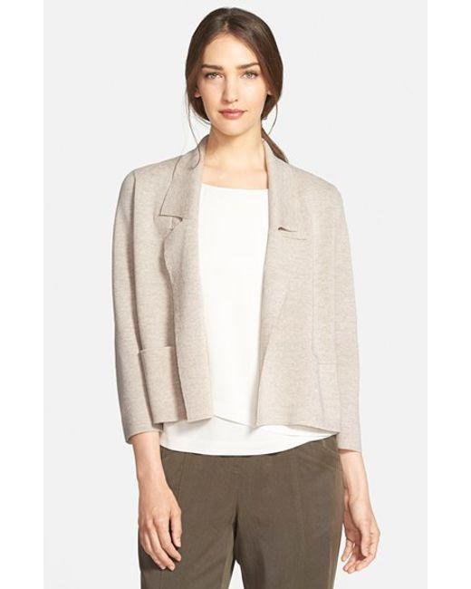 Eileen Fisher | Natural Wool Interlock Knit Jacket | Lyst
