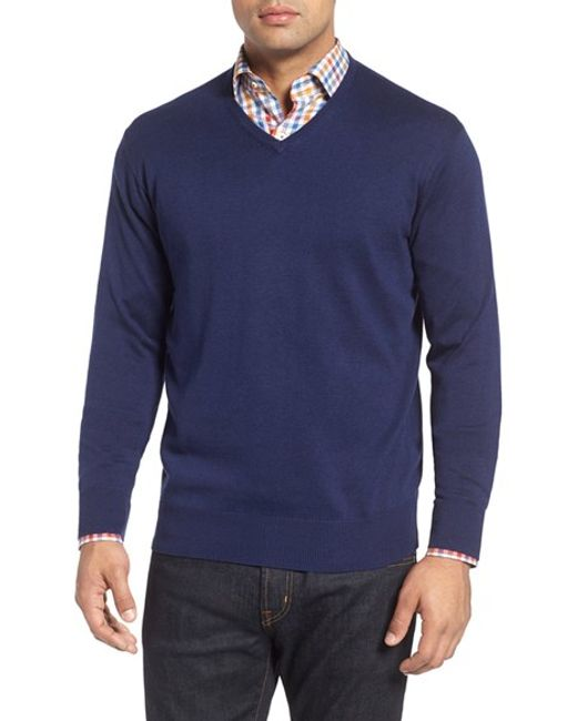Peter Millar | Gray Silk Blend V-neck Sweater for Men | Lyst