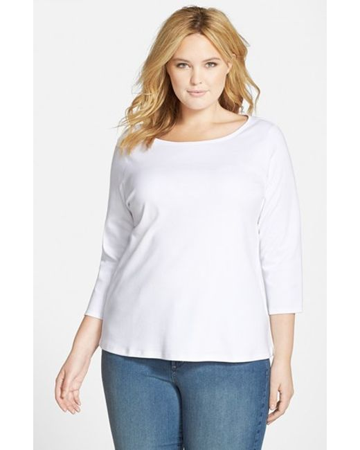 Eileen Fisher | White Organic Cotton Ballet Neck Top | Lyst
