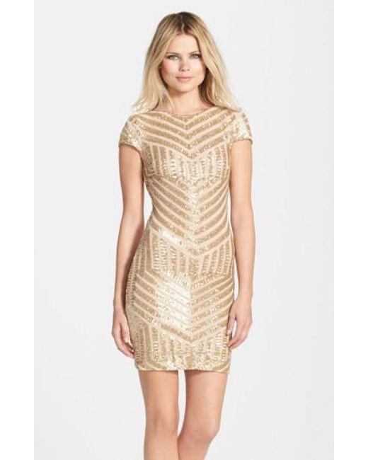 Dress the Population   Metallic 'Tabitha' Geometric Sequin Minidress   Lyst