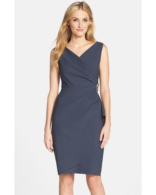 Alex Evenings | Gray Side Ruched Dress | Lyst