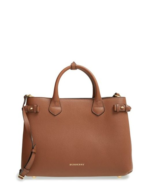 Burberry | Brown Medium Banner Leather Tote | Lyst
