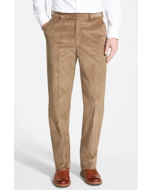 Berle | Brown Flat Front Corduroy Trousers for Men | Lyst