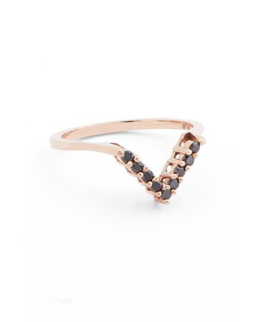 Anna Sheffield | Yellow Black Diamond Chevron Ring | Lyst