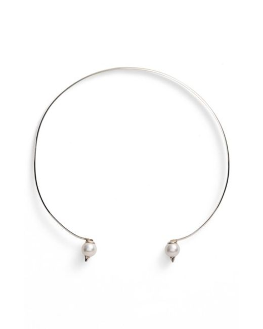 Nektar De Stagni | Metallic 'new Classics' Spike Cultured Pearl Choker Necklace | Lyst