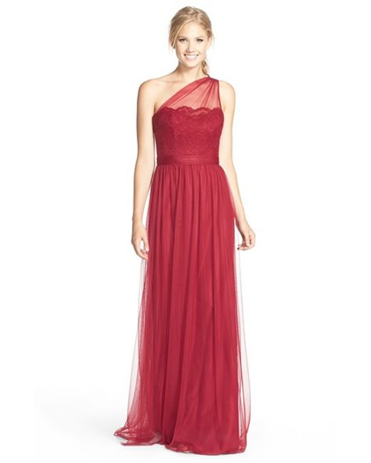 Amsale | Red One-shoulder Lace & Tulle Gown | Lyst