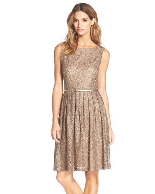 Ellen Tracy | Metallic Pleated Lace Fit & Flare Dress | Lyst