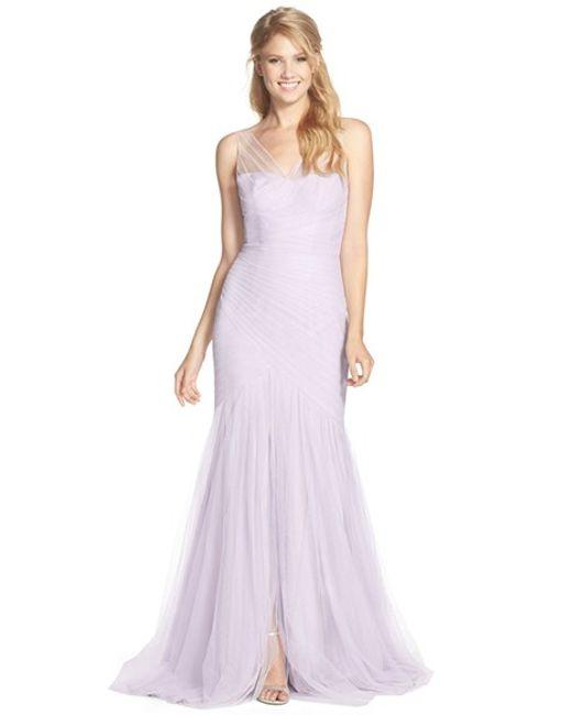 Monique Lhuillier Bridesmaids | Purple Illusion Yoke Pleat Tulle Trumpet Gown | Lyst