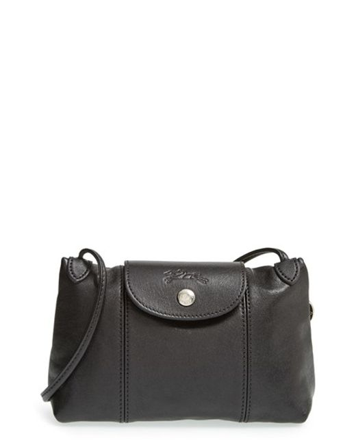 Longchamp | Black Le Pliage - Cuir Crossbody Bag | Lyst