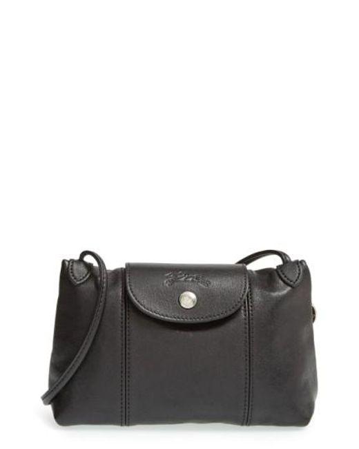Longchamp | Black 'Le Pliage - Cuir' Crossbody Bag | Lyst