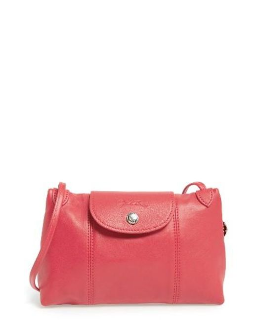 Longchamp | Red Le Pliage - Cuir Crossbody Bag | Lyst