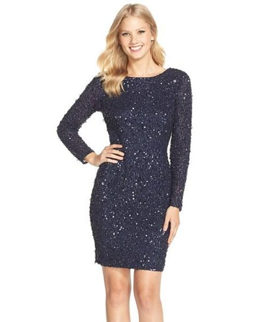 Adrianna Papell | Blue Embellished Scoop Back Cocktail Dress | Lyst
