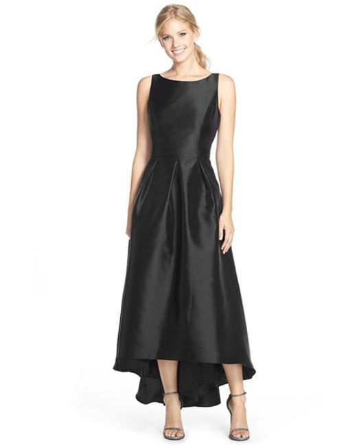 Alfred Sung | Black High/low Hem Sateen Twill Open Back Gown | Lyst