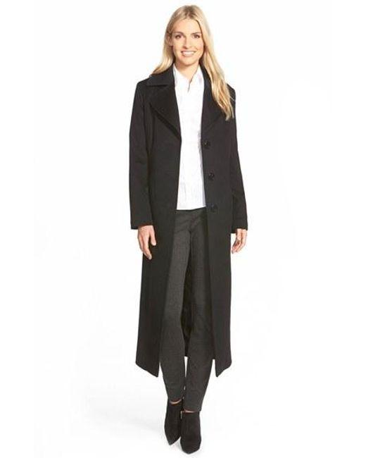 Fleurette | Black Long Wool Notch Collar Coat | Lyst