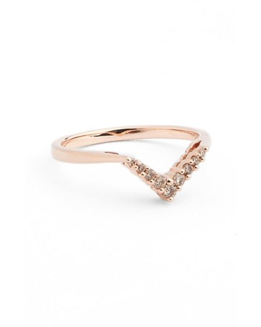 Anna Sheffield | Pink Champagne Diamond Petit Chevron Ring | Lyst