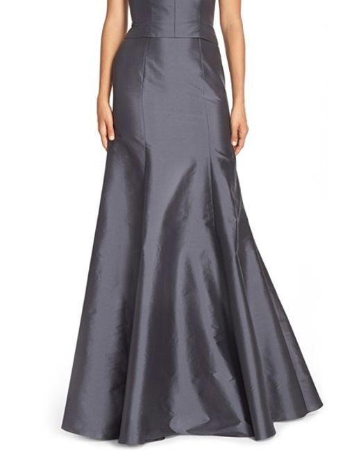 Monique Lhuillier Bridesmaids | Gray Floor Length Taffeta Mermaid Skirt | Lyst