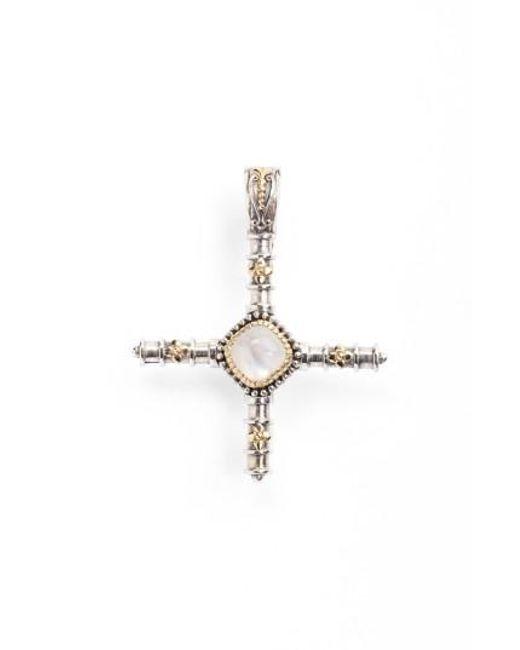Konstantino   Metallic 'erato' Stone Cross Pendant   Lyst