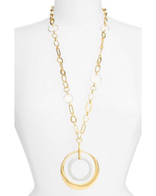 Karine Sultan - Metallic Double Circle Pendant Necklace - Lyst