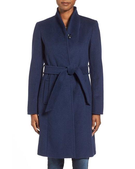 Ellen Tracy | Blue Belted Wool Blend Stand Collar Coat | Lyst