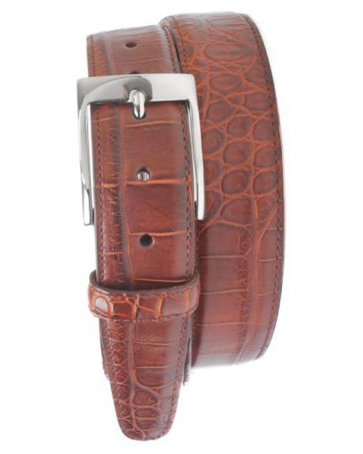 Martin Dingman   Brown 'wellington' Matte Finish Genuine Alligator Leather Belt for Men   Lyst