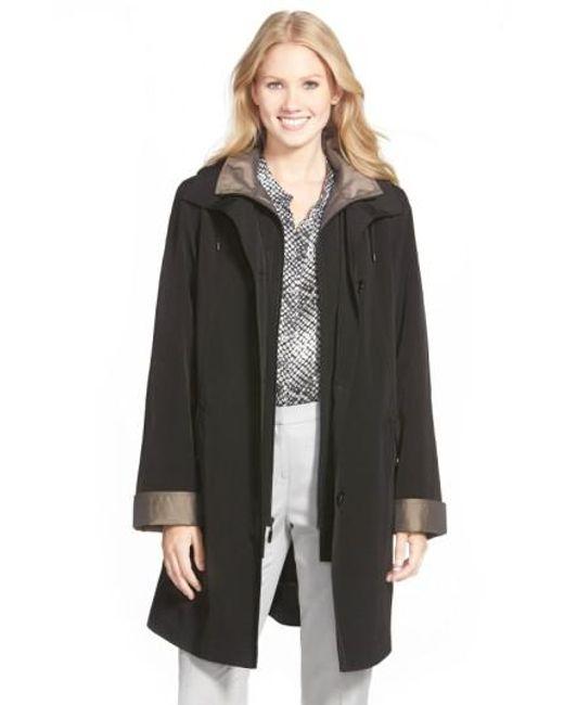Gallery   Black Two Tone Long Silk Look Raincoat   Lyst