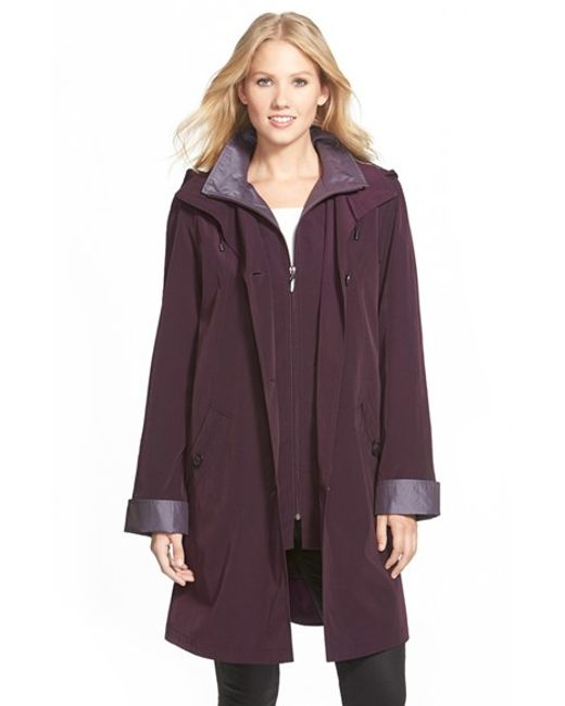 Gallery | Purple Two Tone Long Silk Look Raincoat | Lyst