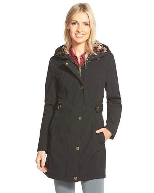 Via Spiga | Black Hooded Soft Shell Coat With Animal Print Lining | Lyst