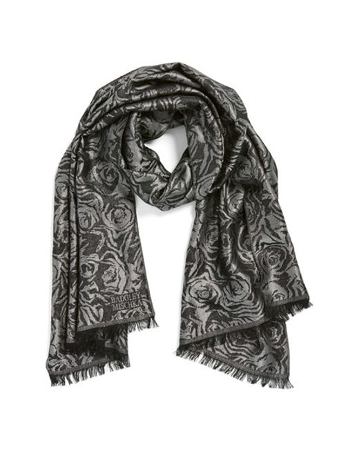 Badgley Mischka | Metallic Floral Jacquard Scarf | Lyst